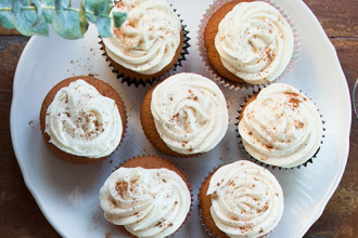 Pumpkin Cupcakes with Orange Muscat Frosting