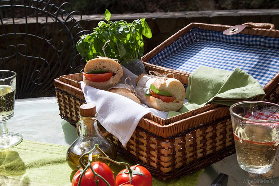 Caprese Tomato Mozzarella Basil Sandwich
