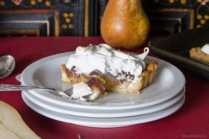 Wine Poached Pear Meringue Tart