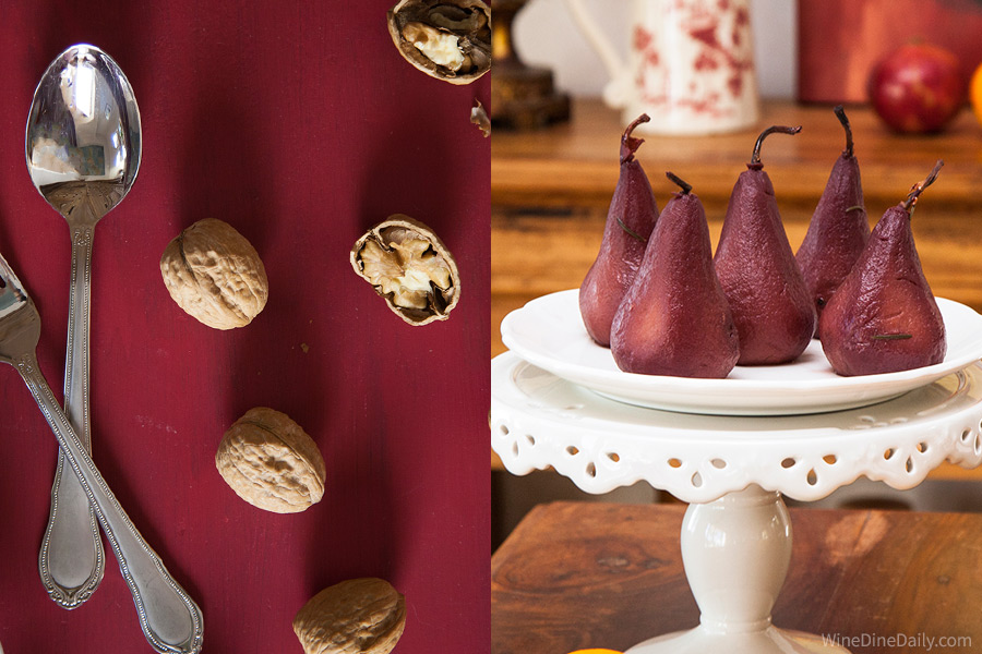 Walnuts Red Wine Poached Pears