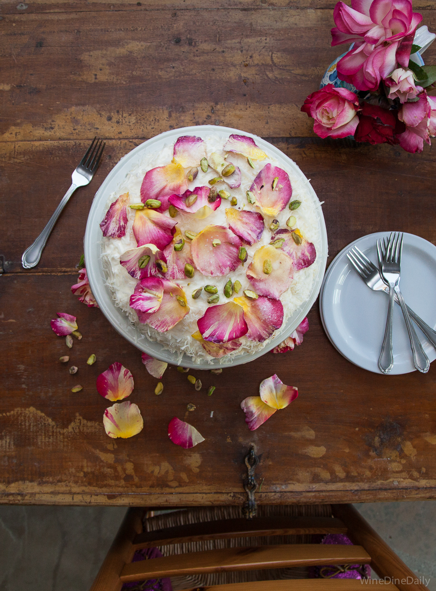 Coconut Cake Sugared Rose Petals recipe