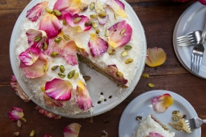 Coconut Cake with Rose Petals