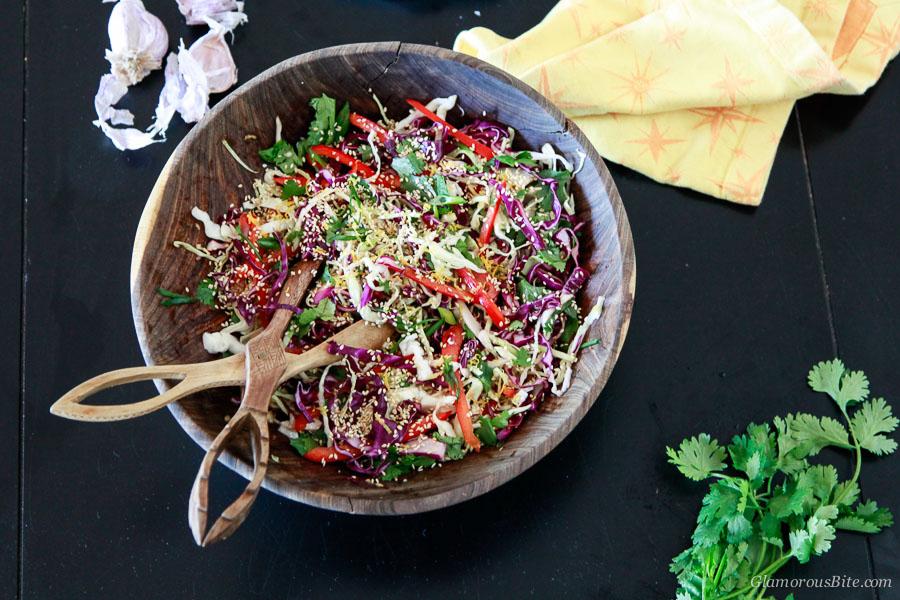 Asian Style Coleslaw Vegan Raw Gluten-Free