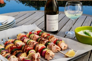 Grilled Salmon Kebabs with Dill Yogurt Sauce