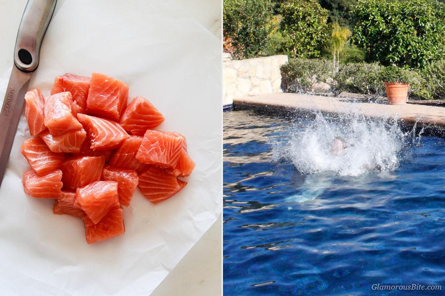 Raw Salmon Food Splash