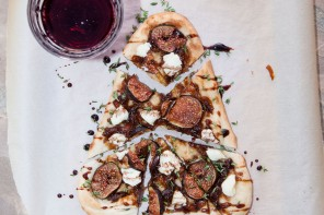 Naan Pizza with Figs Goat Cheese & Balsamic Pinot Reduction