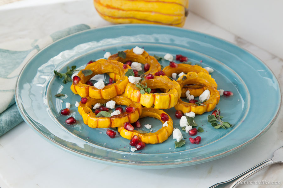 Delicata Squash Goat Cheese Pomegranate Seeds