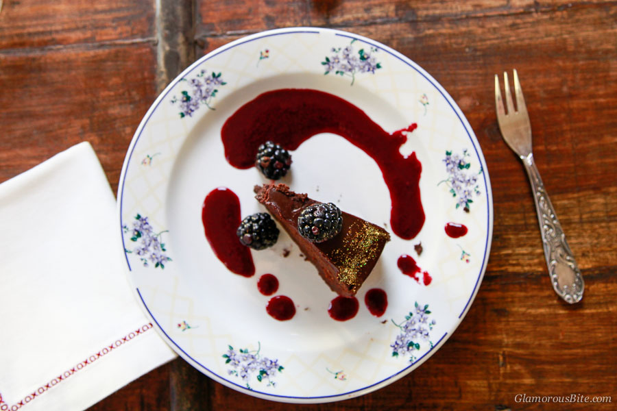 Fergalicious Chocolate Cake Blackberry Coulis piece