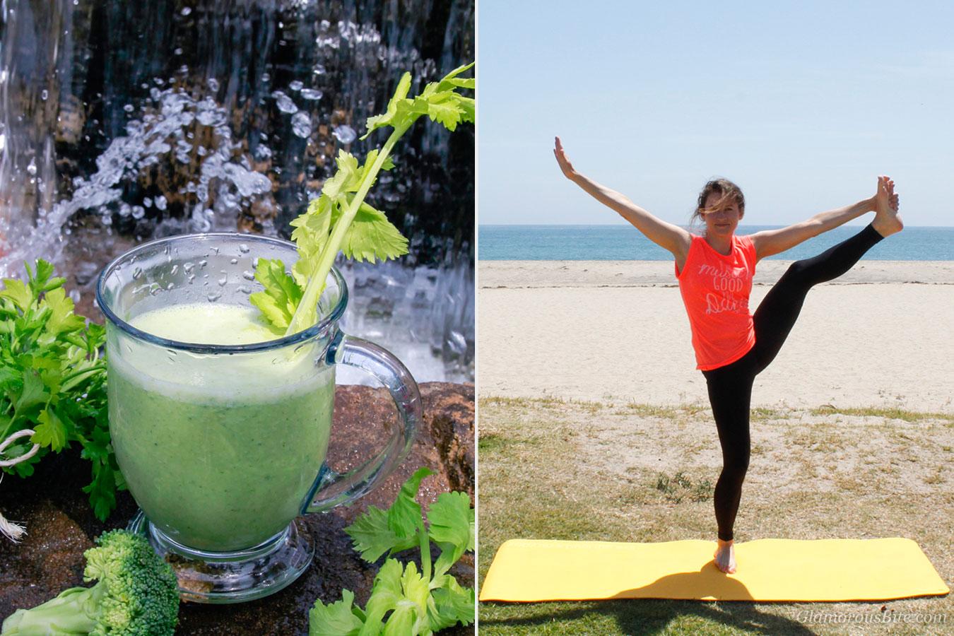Green Smoothie and Corina Yoga