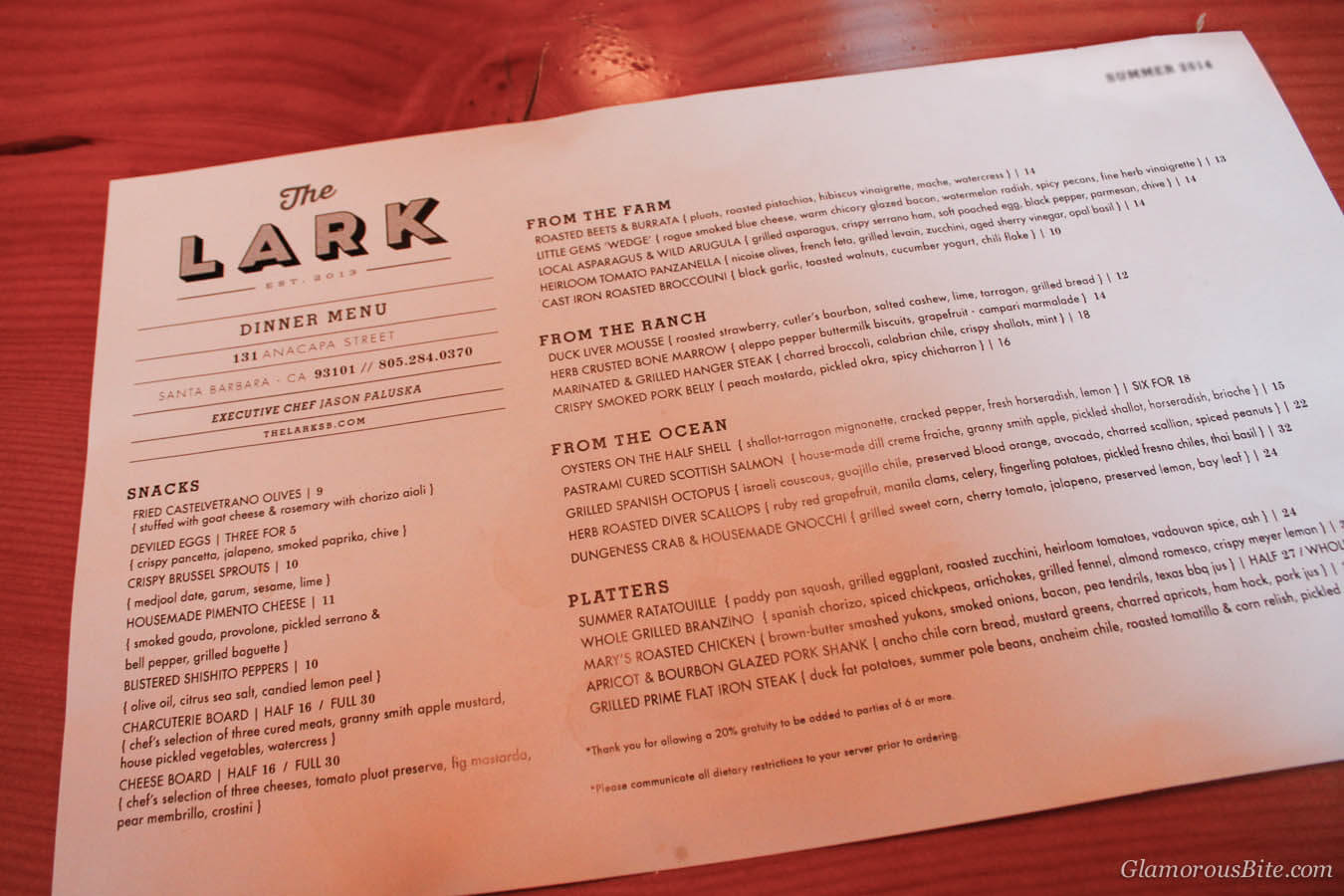 The Lark Santa Barbara Menu Summer