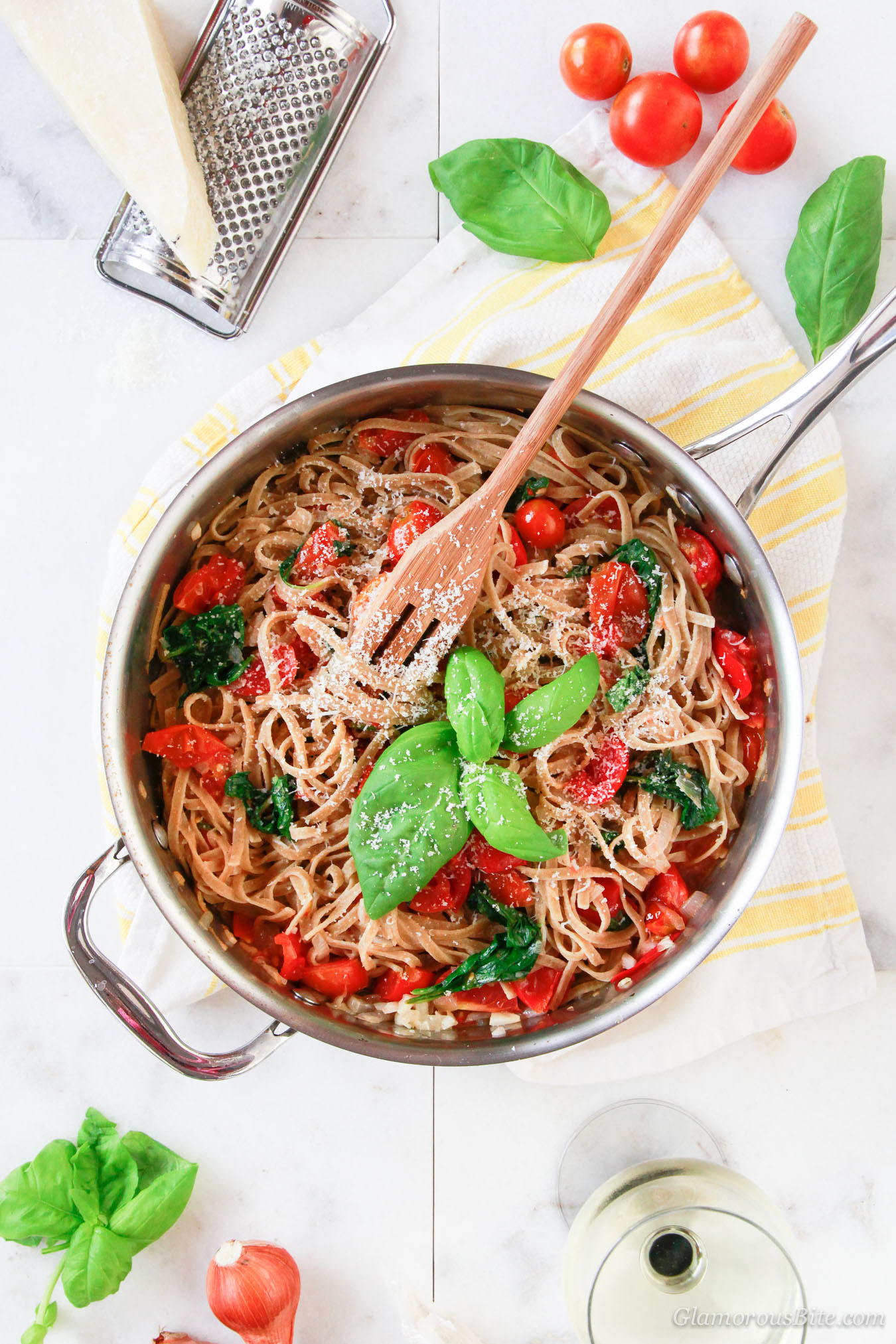 Whole-Wheat Pasta Tomatoes Spinach Recipe
