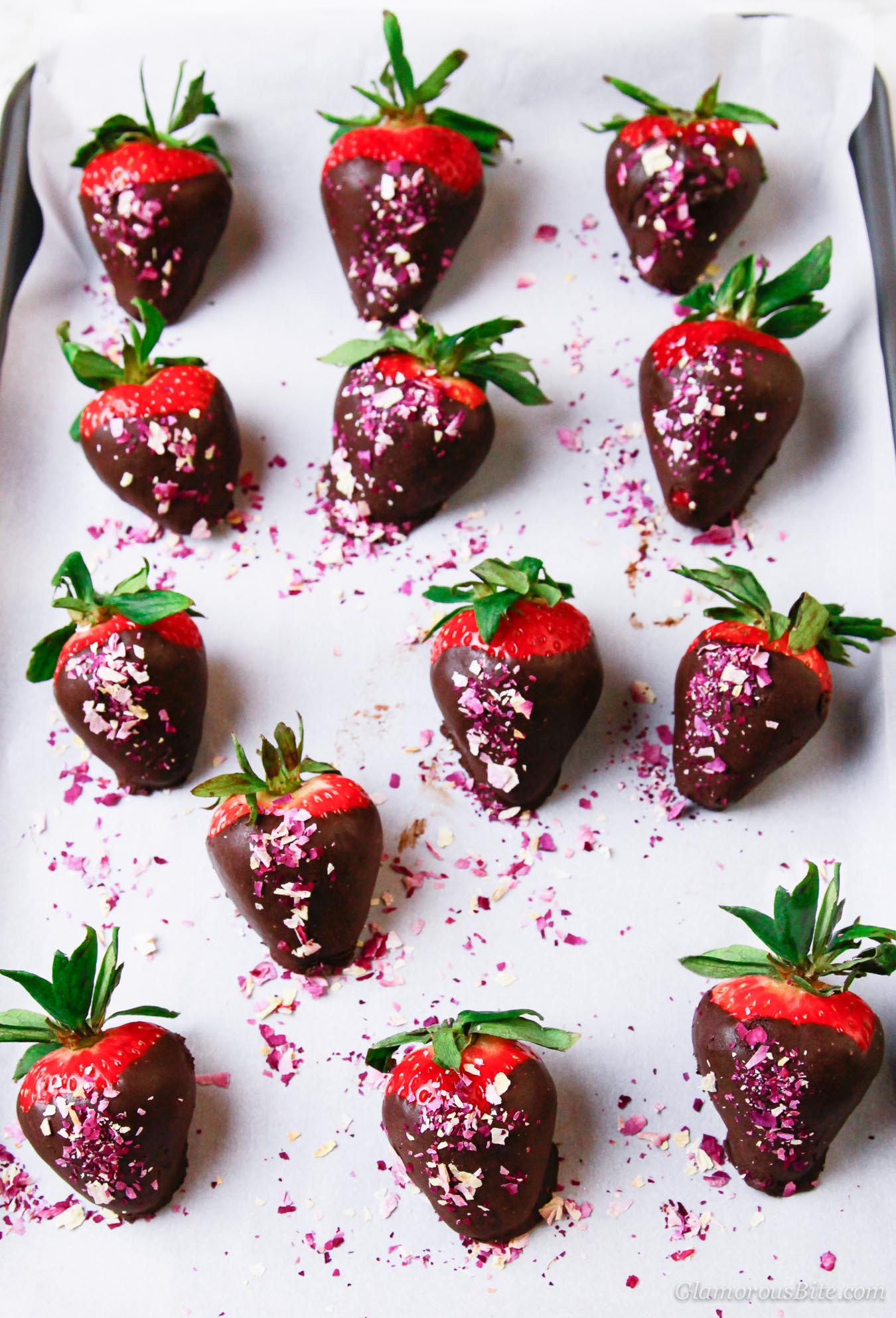 Chocolate Covered Strawberries with Rose Petals