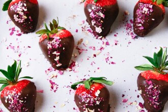 Chocolate Covered Strawberries with Rose Petals Recipe