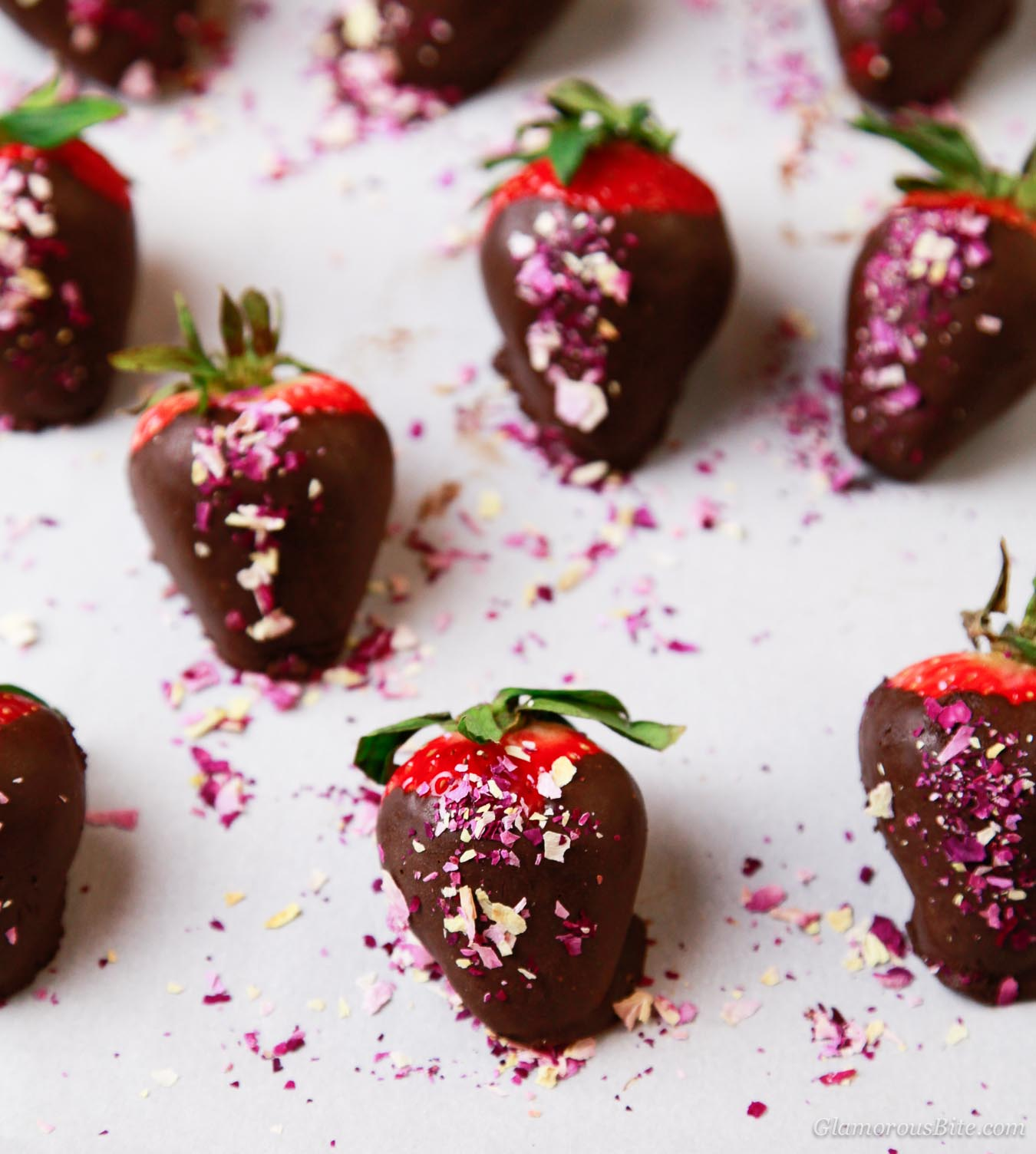 Homemade Chocolate Covered Strawberries and Rose Petals recipe